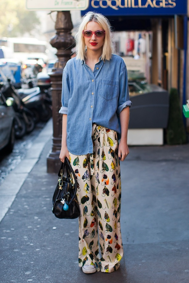 pajama pants and denim shirt