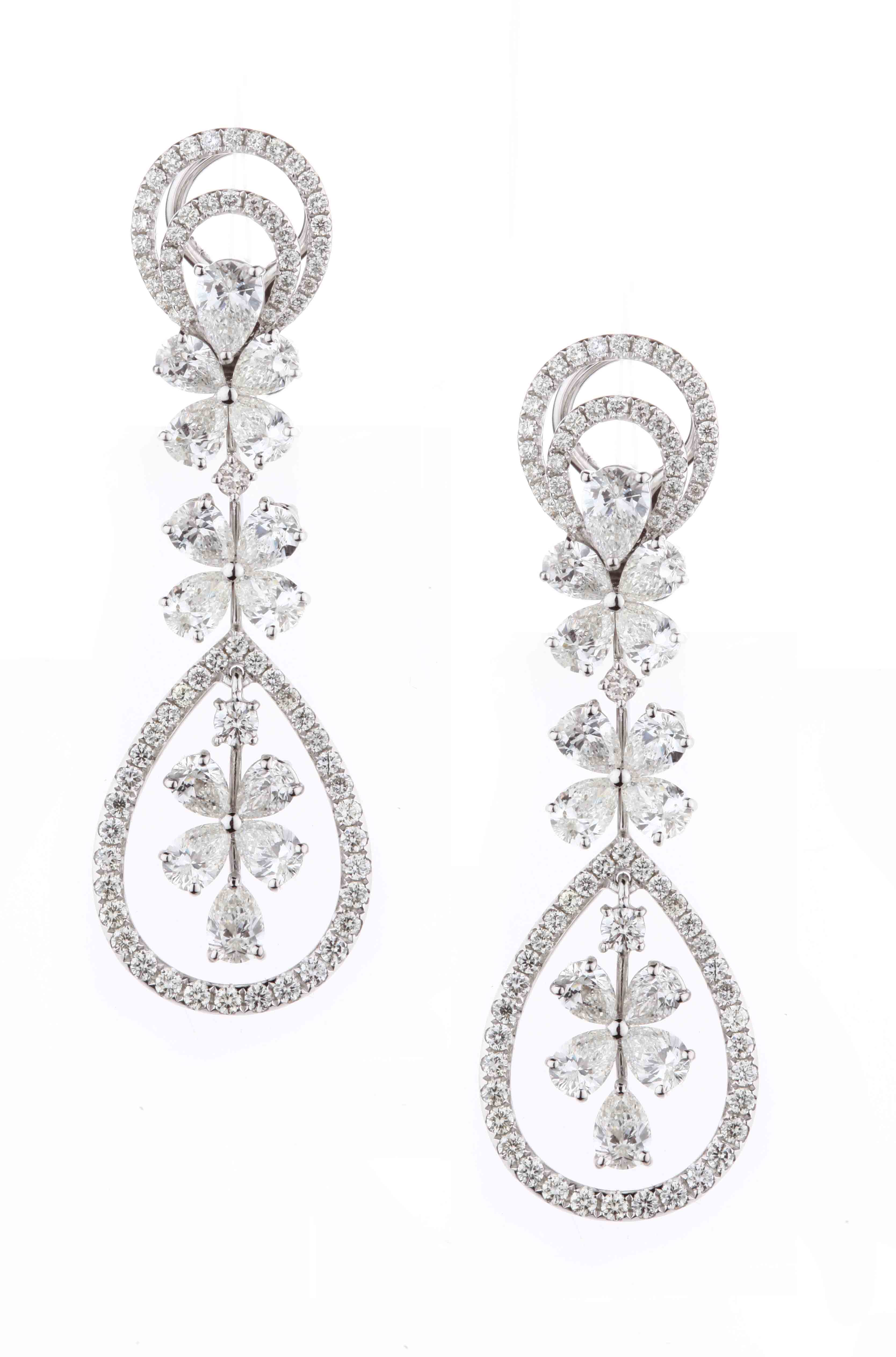 Diamond floral earrings by Entice
