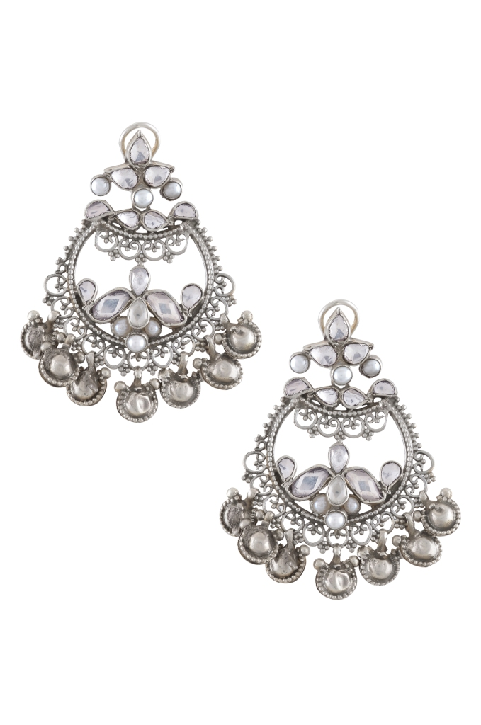 Silver crystal and ghungroo earrings by Amrapali