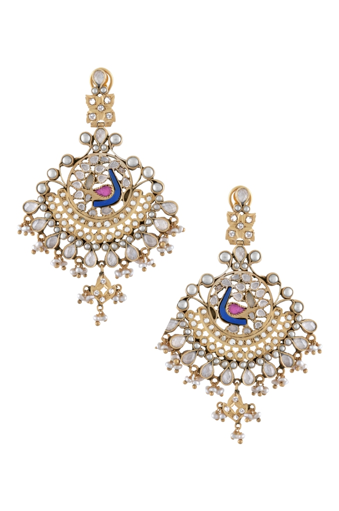 Silver pearl crystal earrings by Amrapali