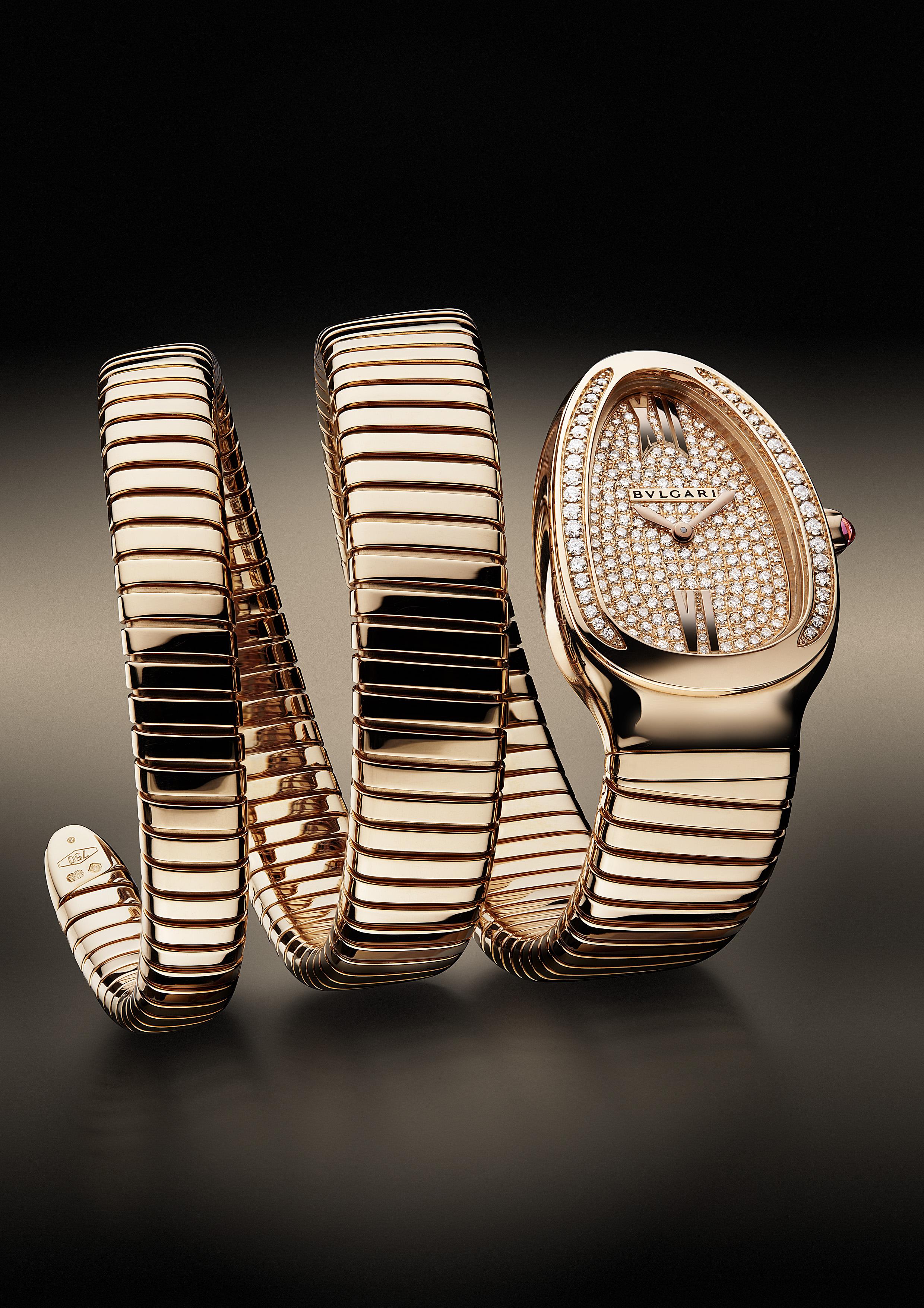 101956- Serpenti watch,35mm, pink gold-diamonds case, Gold -full setting dial, Quartz movement, Diamonds 228 pce, Weight diamonds 1.11 [ct], Weight precious metall 125