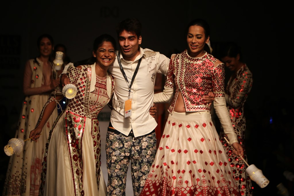 Sahil Kochhar with Carol Gracias and fellow model at Wills India Fashion Week Spring/Summer 2015