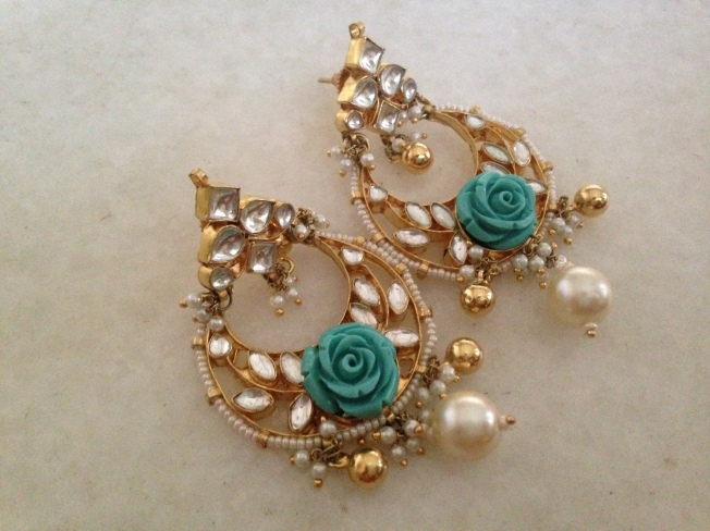 Turquoise Kundan earrings by Ira