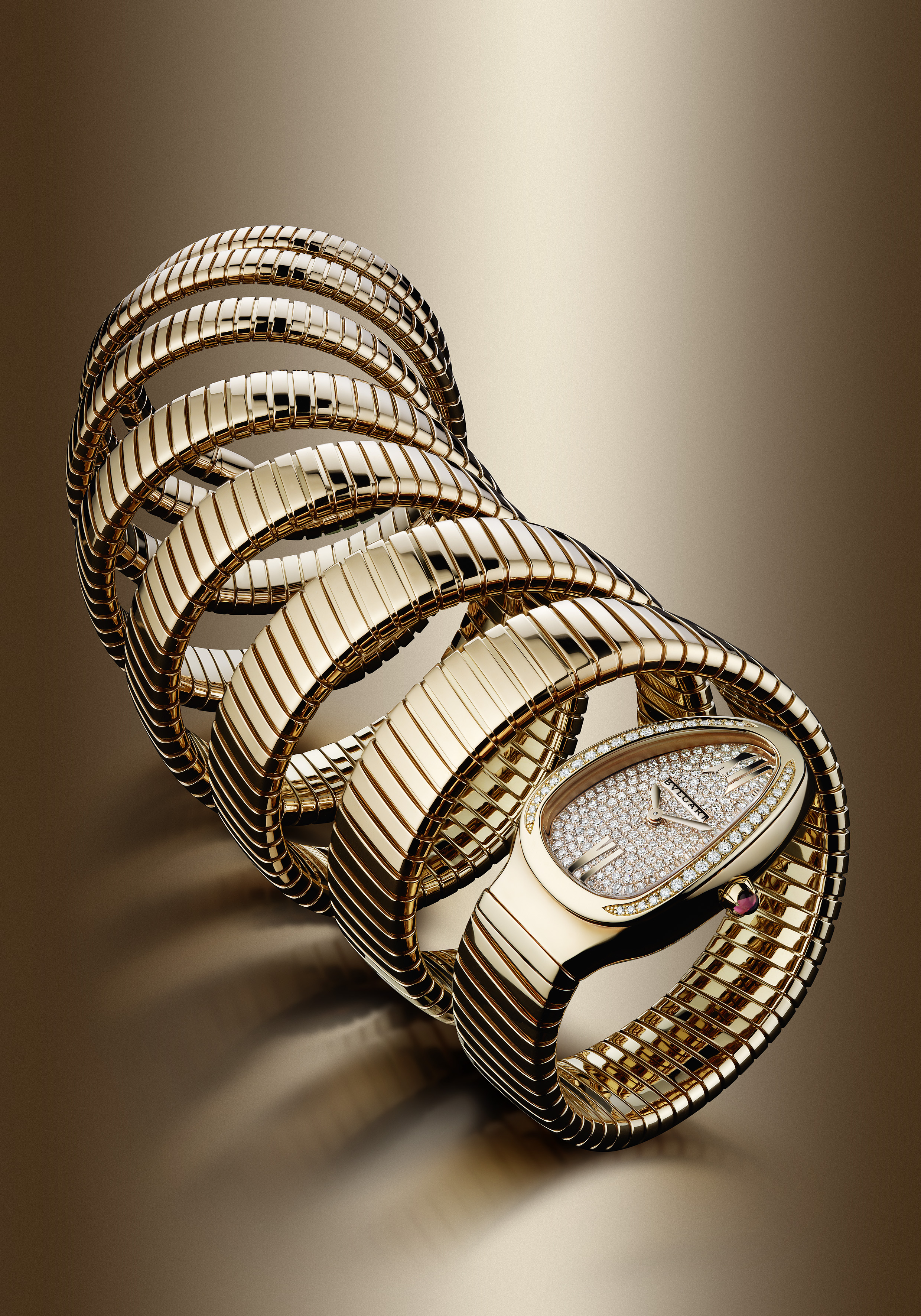 101938- Serpenti watch, 35mm, pink gold-diamonds case, Full setting dial, Quartz movement, pink gold bracelet, 7 loops, Diamonds mounted 1.1100 carats