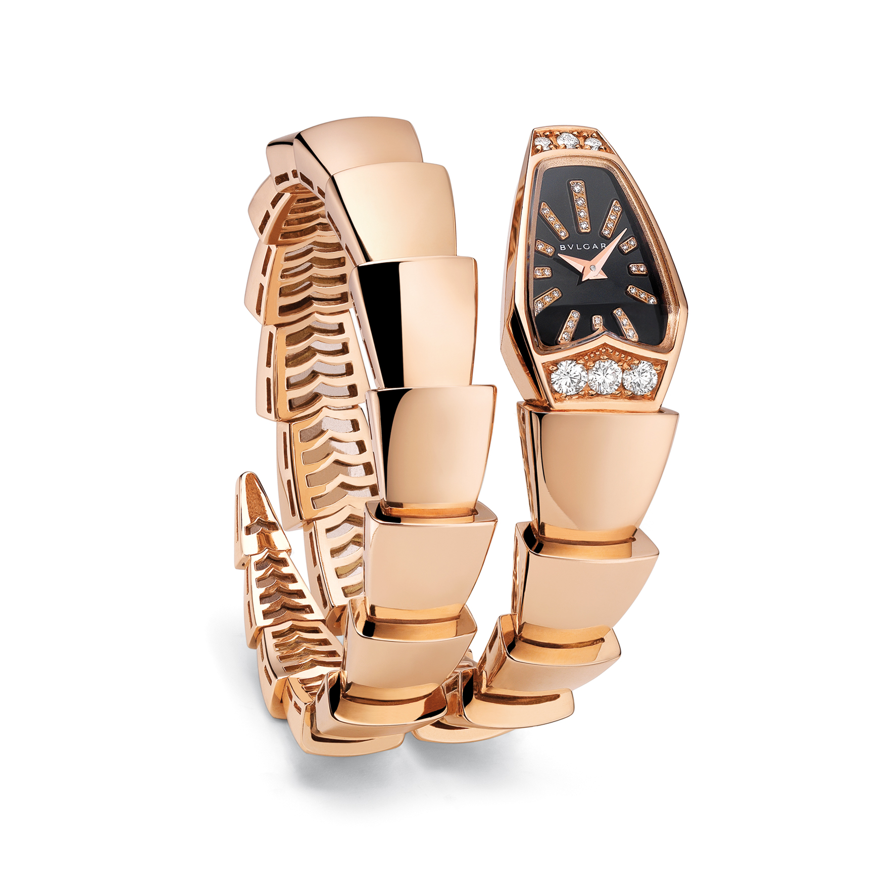 101788- Serpenti watch, 26mm, gold-diamonds-case, Mother of pearl Black-diamonds dial, Quartz movement, Diamonds 42 pce, Weight diamonds 0.700 [ct], Weight precious metal 77.2