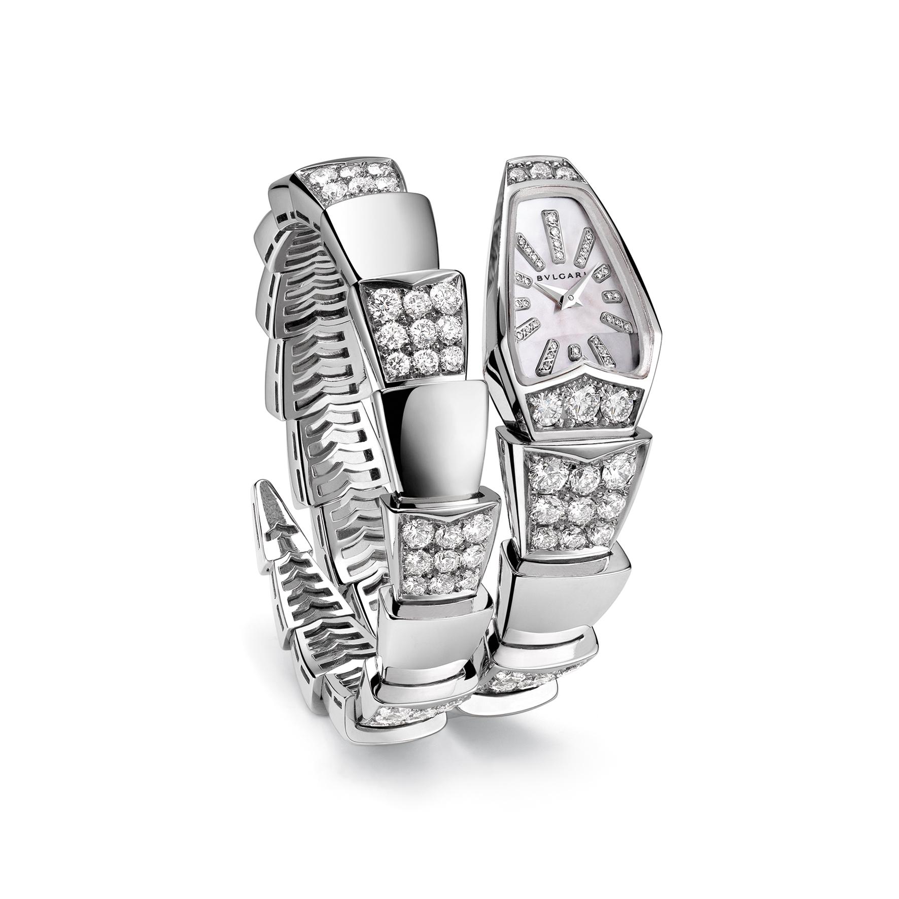 101787- Serpenti watch, 26mm, white gold-diamonds-case, White mother of pearl-diamonds dial, Quartz movement, Diamonds 134 pce, Weight diamonds 8.0 [ct], Weight precious metal 70.5
