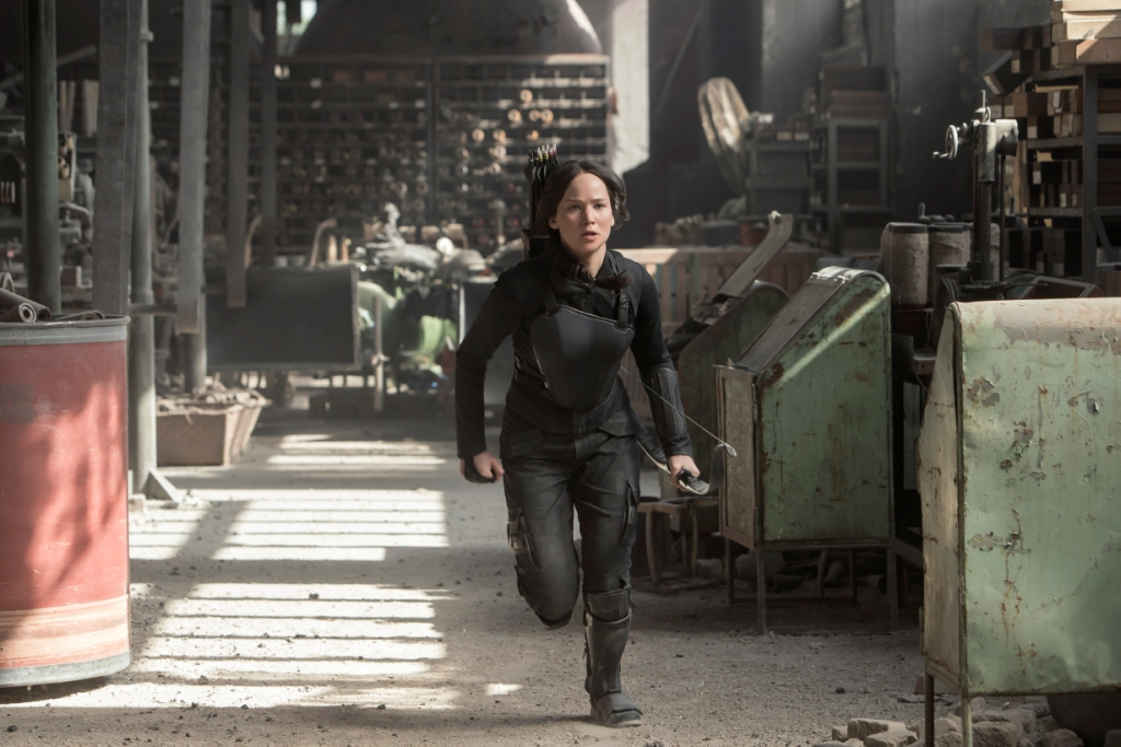 Jeniffer Lawrence as Katniss Everdeen in the Hunger Games: Mockingjay – Part 1