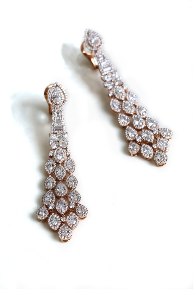 Entice rose gold earrings  with marquise, pear & round diamonds