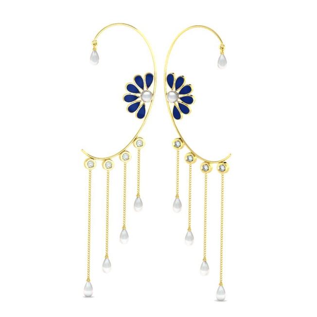 Dainty Floral Motif Ear Cuffs by Payal Pratap at Velvetcase.com