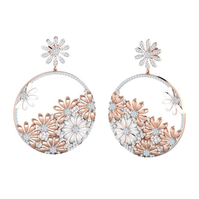 Japanese Floral Motif Diamond Chand Balis by Payal Pratap at Velvetcase.com