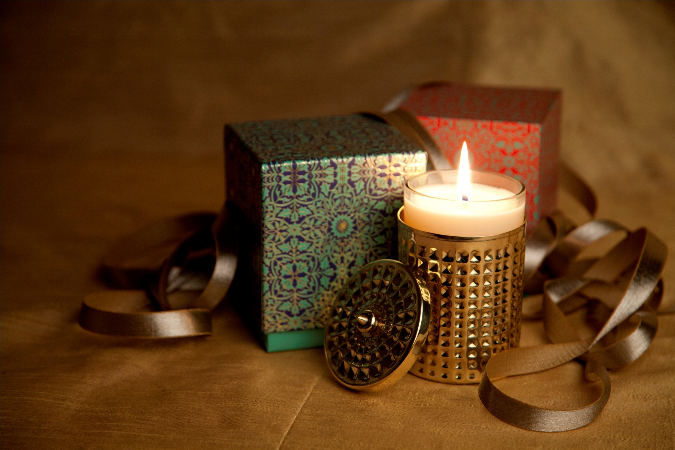 Madurai soy scented candle with brass holder by Kama Ayurveda