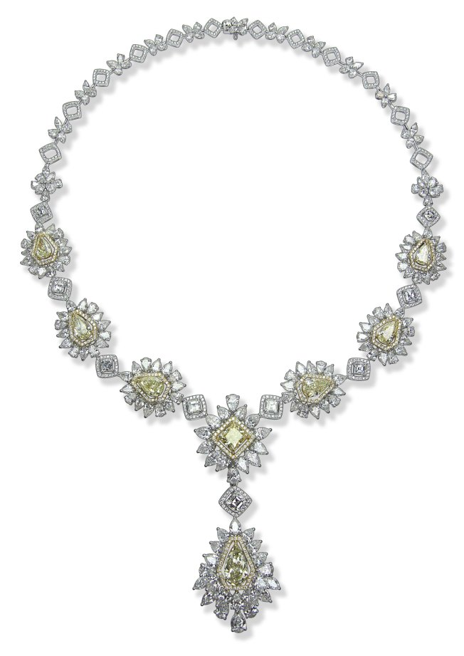 Entice Yellow & white diamond Y-shape necklace