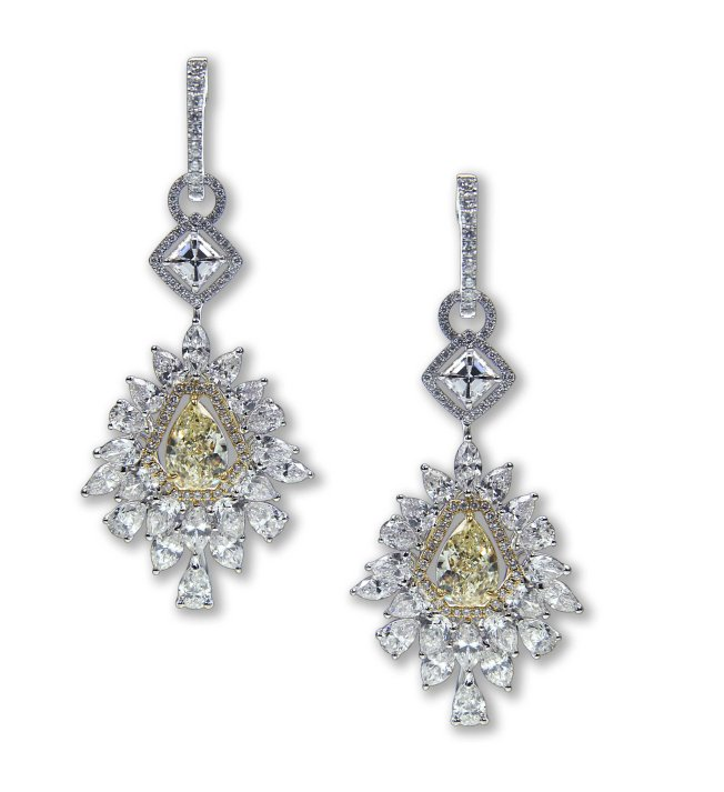 Entice Yellow & white diamond drop earrings